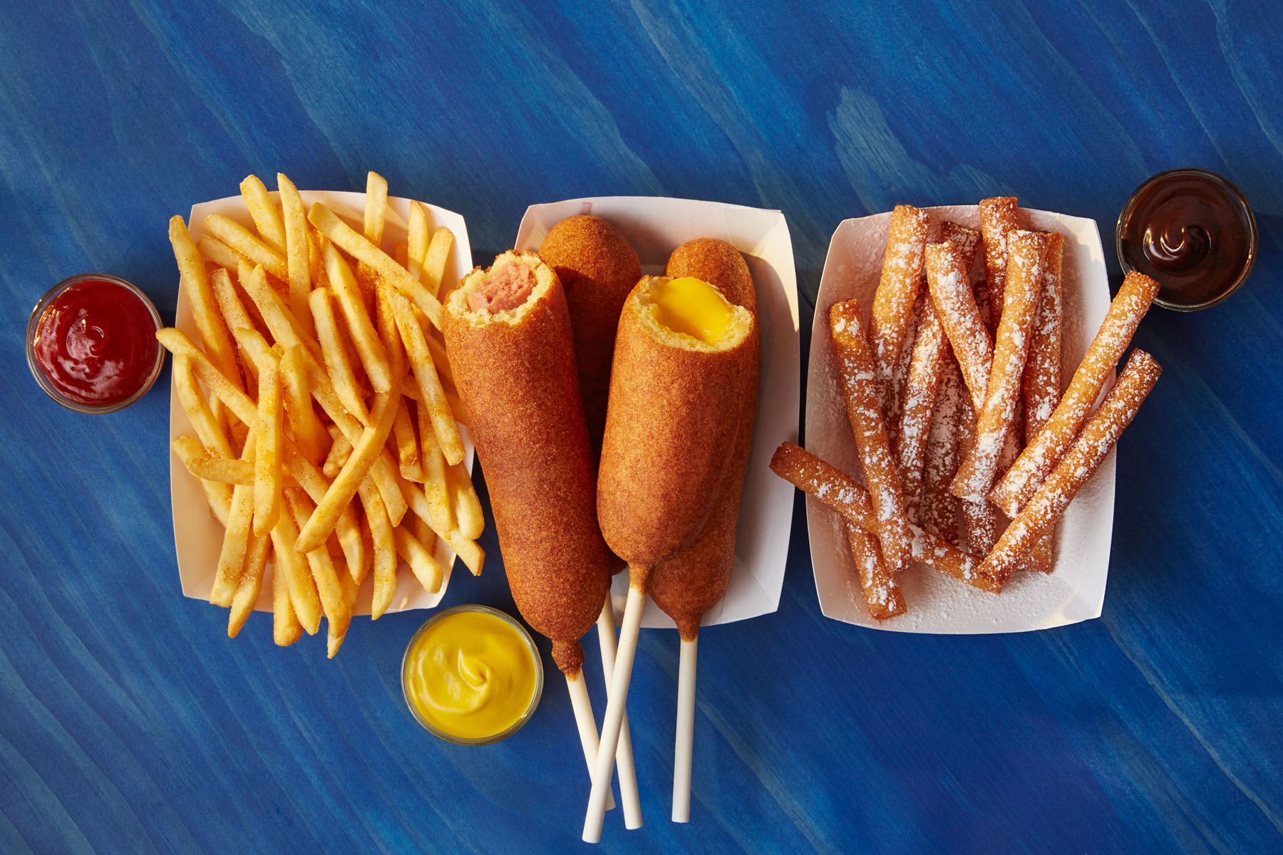 Fries, hot dogs and funnel cake fries
